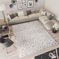 TROYA Area Rug Dark Beige Floral Vintage Motif Durable Carpet
