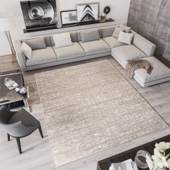 TROYA Area Rug Beige Geometric Abstract Durable Carpet