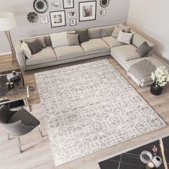 TROYA Area Rug Cream Beige Modern Geometric Durable Carpet