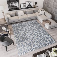 TROYA Area Rug Modern Cream Grey Abstract Durable Carpet
