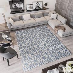 Troya Teppich Modern Marokkanisch Gitter Design Blau Beige