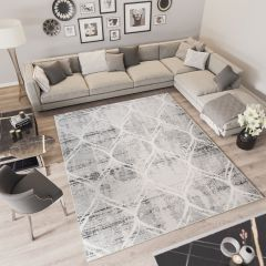 TROYA Area Rug Cream Light Grey Round Trellis Durable Carpet