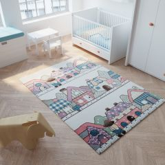 HAPPY Tapis Moderne Village Crème Multicolore Doux