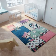 HAPPY Tapis Moderne Chat Oiseax Multicolore Doux