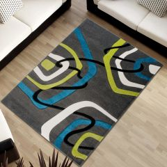 SUMATRA Area Rug Contour Cut Modern Abstract Blue Dark Grey