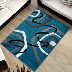 SUMATRA Area Rug Contour Cut Modern Abstract Blue Grey