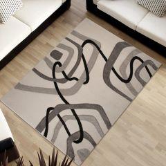 SUMATRA Teppich Kurzflor Modern 3D Effekt Beige Wellen