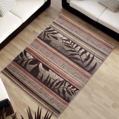 Sumatra Tappeto Moderno Foglie Linee Beige Geometrico