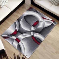 SUMATRA Area Rug Contour Cut Modern Abstract Circle Grey Red