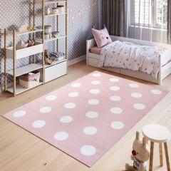 PINKY Tapis Moderne Points Cercles Rose Blanc Jeu Fin Doux