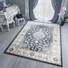 DUBAI Area Rug Traditional Classic Short Pile Ornament Black