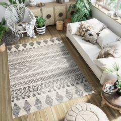 ETHNO Boho Area Rug Aztec Tribal Ethnic Durable Mat Cream