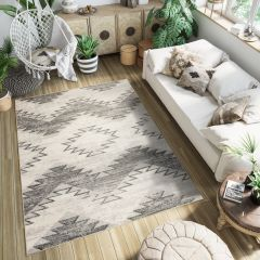 ETHNO Area Rug Boho Aztec Tribal Durable Carpet Cream