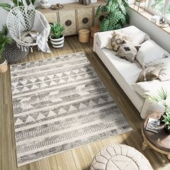 ETHNO Area Rug Ethnic Tribal Signs Triangle Cream Black