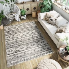 ETHNO Area Rug Short Pile Tribal Ethnic Flecked Cream Black