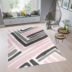 PINKY Modern Area Rug Bedroom Youth Abstract Lines Pink Grey