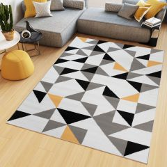 MAYA Area Rug Modern Short Pile Triangles Geometric White Grey