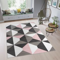 PINKY Modern Area Rug Short Pile Youth Geometric White Grey Pink