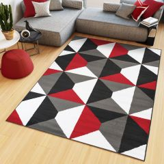 MAYA Area Rug Modern Short Pile Geometric Shapes Grey Red