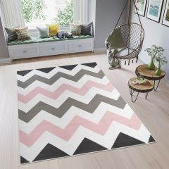 PINKY Modern Area Rug Bedroom Youth ZigZag White Grey Pink