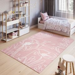 PINKY Modern Area Rug Children Room Play Mat White Flowers Pink