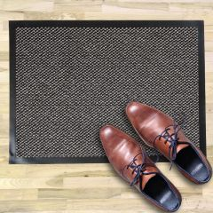 ORKAN Non-Slip Door Mat Rubber Backed Entrance Grey