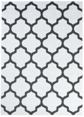 LUXURY Area Rug Modern Short Pile Trellis Moroccan White Grey