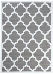LUXURY Area Rug Modern Short Pile Moroccan Trellis Grey White