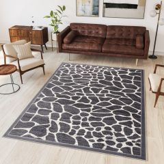 DREAM Tapis Moderne Animal Sauvage Girafe Gris Noir Fin