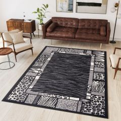 DREAM Modern Area Rug Short Pile Animal Print Tiger Dark Grey