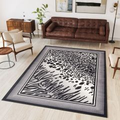 DREAM Modern Area Rug Short Pile Leopard Tiger Animal Grey