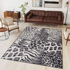 DREAM Modern Area Rug Short Pile Animal Print Leopard Grey