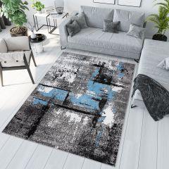Maya Teppich Modern Grau Creme Schwarz Blau Meliert Splash Design