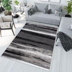 MAYA Modern Area Rug Flecked Stripes Grey Durable Carpet