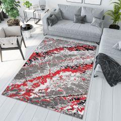 MAYA Modern Area Rug Grey Red Abstract Durable Carpet