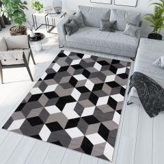 Maya Teppich Kurzflor Modern Grau Weiß Schwarz Geometrisch Gitter