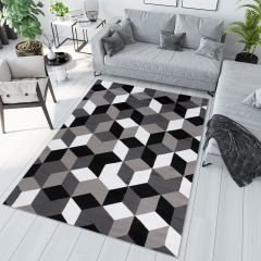 MAYA Modern Area Rug Geometric Black Grey White Durable Carpet
