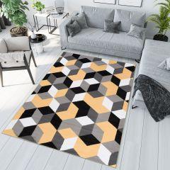 MAYA Modern Area Rug Geometric Yellow Grey Durable Carpet