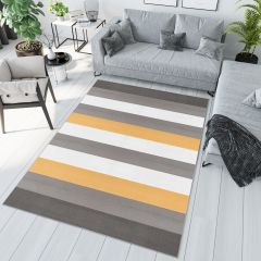 PIMKY Area Rug Teenager Grey Yellow Stripes Pattern Durable