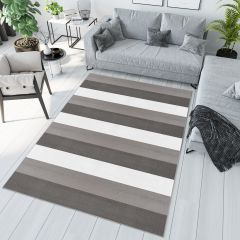 PIMKY Area Rug Teenager Grey White Stripes Pattern Durable