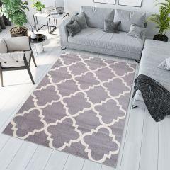 Jawa Teppich Kurzflor Marokkanisch Design Grau Geometrisch Gitter