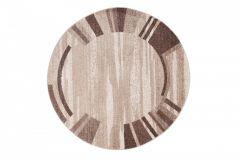 SARI Teppich Rund Braun Beige Modern Streifen Bordüre