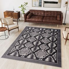 DREAM Tapis Moderne Animal Sauvage Serpent Gris Noir Fin