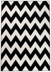 MAROKO Tapis Moderne Zigzags Marocain Noir Blanc Fin