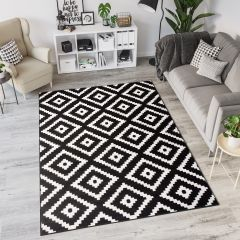 LAILA Modern Area Rug Diamond Geometric Black White Carpet