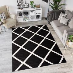 Laila Teppich Modern Kurzflor Schwarz Weiß Geometrisch Karo