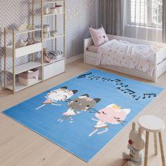 JOLLY Tapis Enfant Moderne Bleu Gris Blanc Rose Chatons Fin