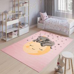 JOLLY Teppich Kurzflor Kinderteppich Spielmatte Rosa Gelb Elefant