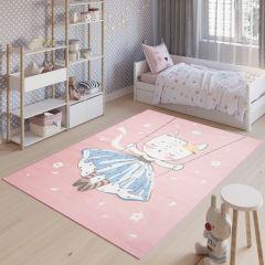JOLLY Tapis Enfant Moderne Rose Bleu Blanc Chaton Fin Doux