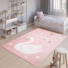 JOLLY Teppich Kinderteppich Kurzflor Spielmatte Rosa Sterne Schwan